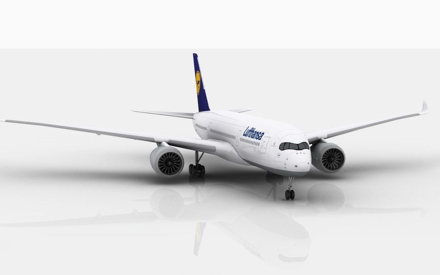 Airbus A350 Lufthansa royalty-free 3d model - Preview no. 2