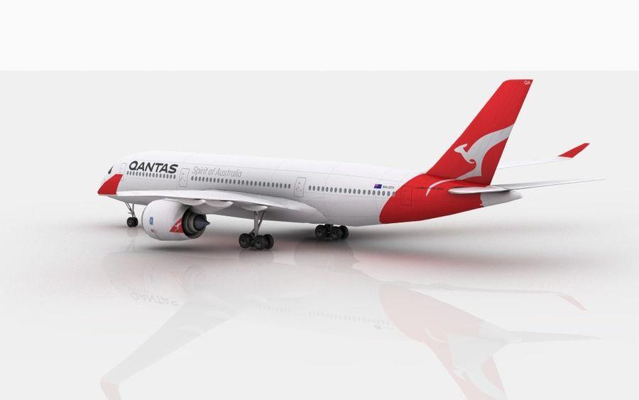Airbus A350 Qantas royalty-free 3d model - Preview no. 5