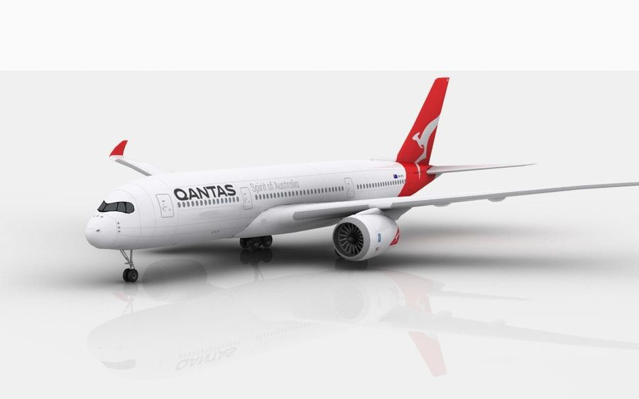 Airbus A350 Qantas royalty-free 3d model - Preview no. 1