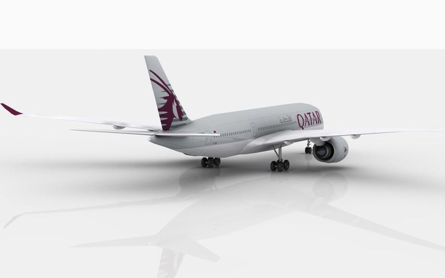 Airbus A350 Qatar royalty-free 3d model - Preview no. 6