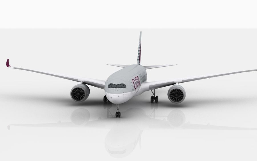 Airbus A350 Qatar royalty-free 3d model - Preview no. 3