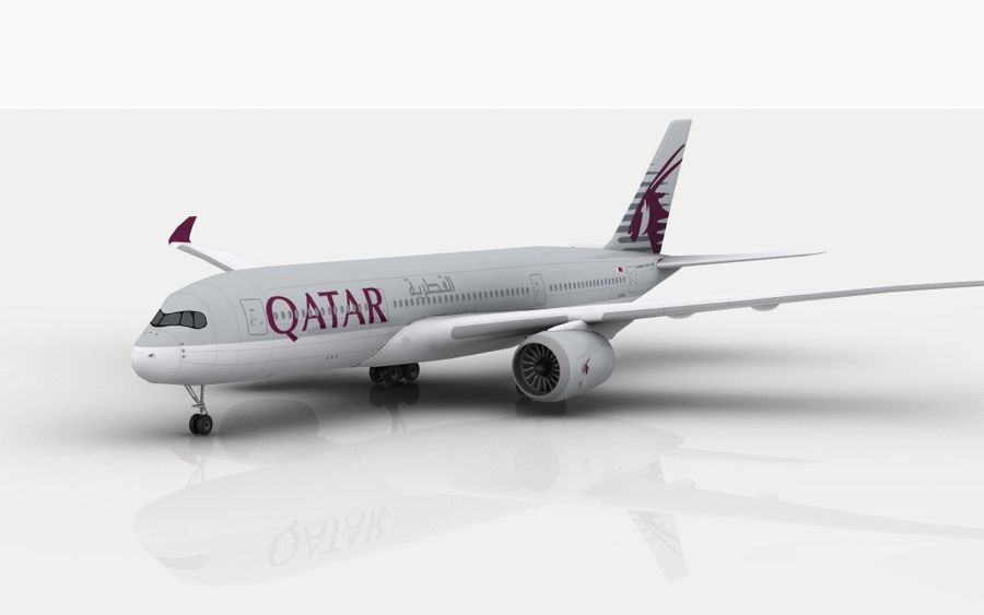 Airbus A350 Qatar royalty-free 3d model - Preview no. 1