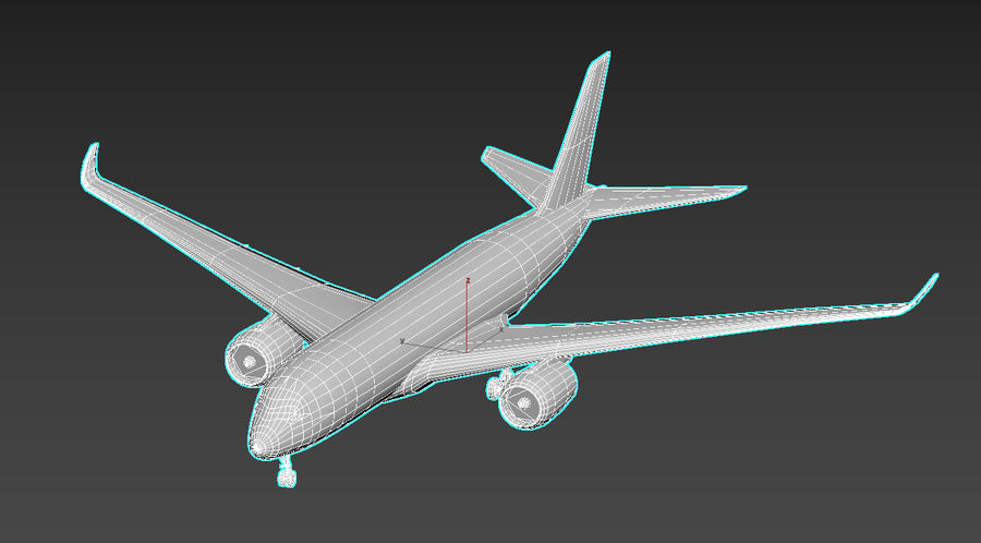 Airbus A350 Qatar royalty-free 3d model - Preview no. 5