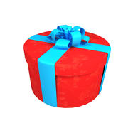 빨간 둥근 선물 상자 3d model