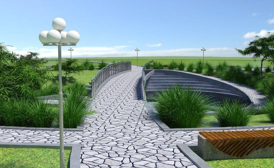 Parkera landskap royalty-free 3d model - Preview no. 7