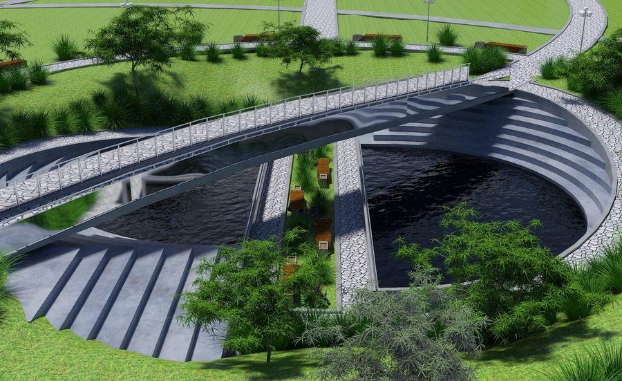 Parkera landskap royalty-free 3d model - Preview no. 4