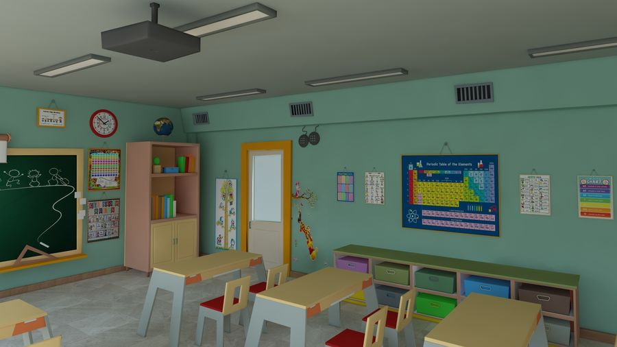 漫画教室3Dモデル royalty-free 3d model - Preview no. 5