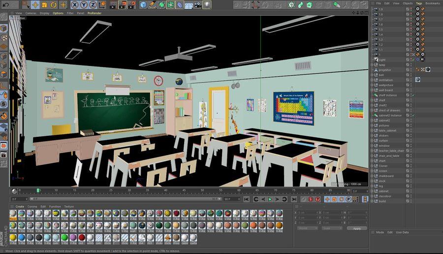 漫画教室3Dモデル royalty-free 3d model - Preview no. 21