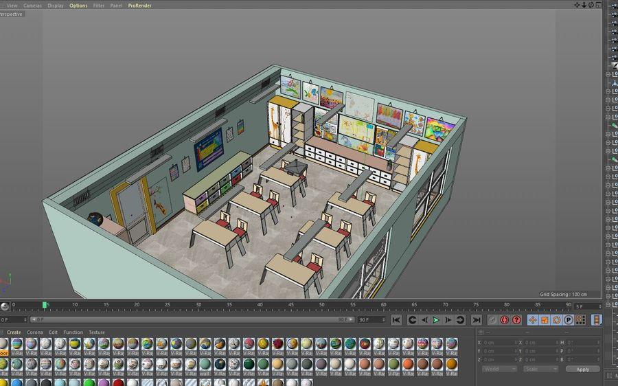 漫画教室3Dモデル royalty-free 3d model - Preview no. 25