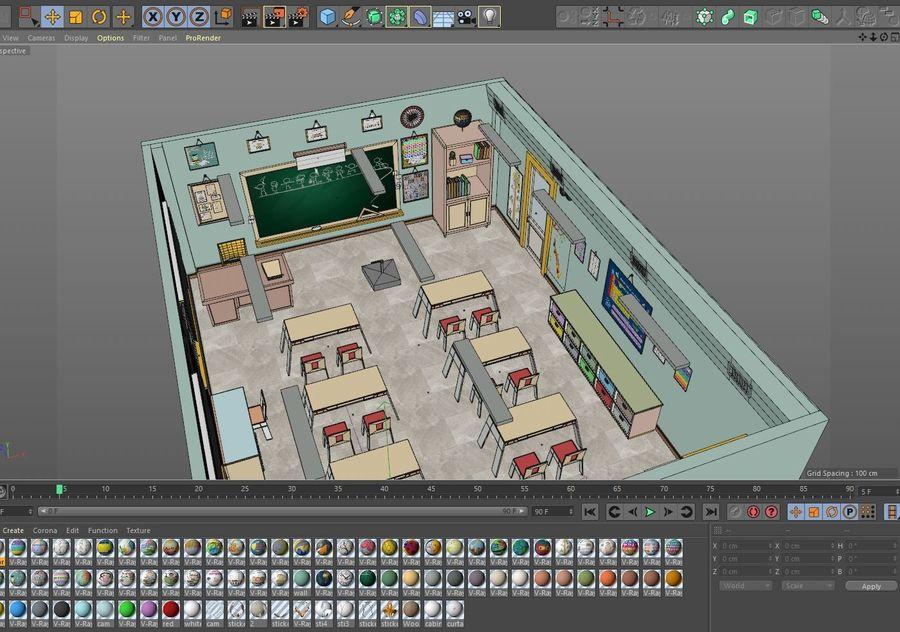 漫画教室3Dモデル royalty-free 3d model - Preview no. 24