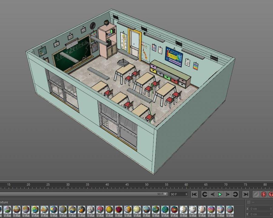 漫画教室3Dモデル royalty-free 3d model - Preview no. 23