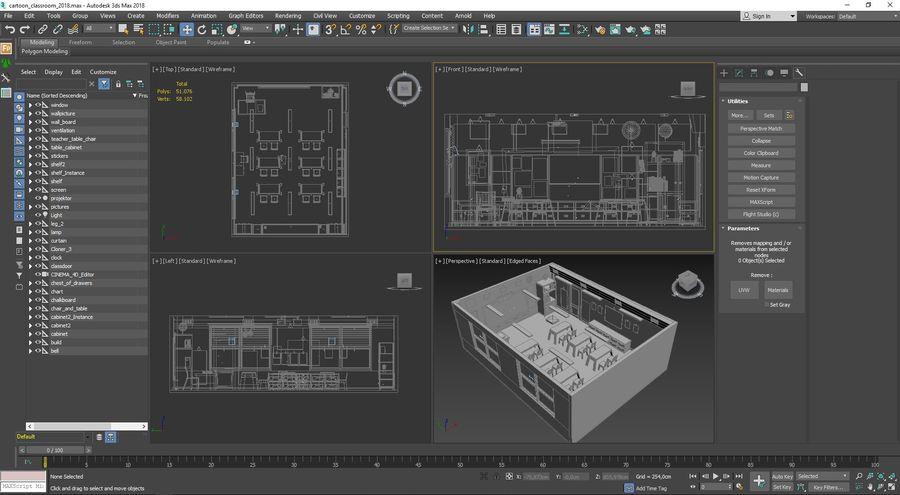 漫画教室3Dモデル royalty-free 3d model - Preview no. 26