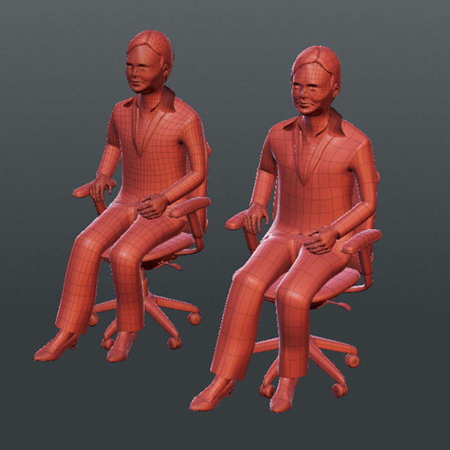 Gens d'affaires 02 (bureau d'information) royalty-free 3d model - Preview no. 11