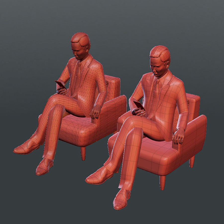 Gens d'affaires 02 (bureau d'information) royalty-free 3d model - Preview no. 8