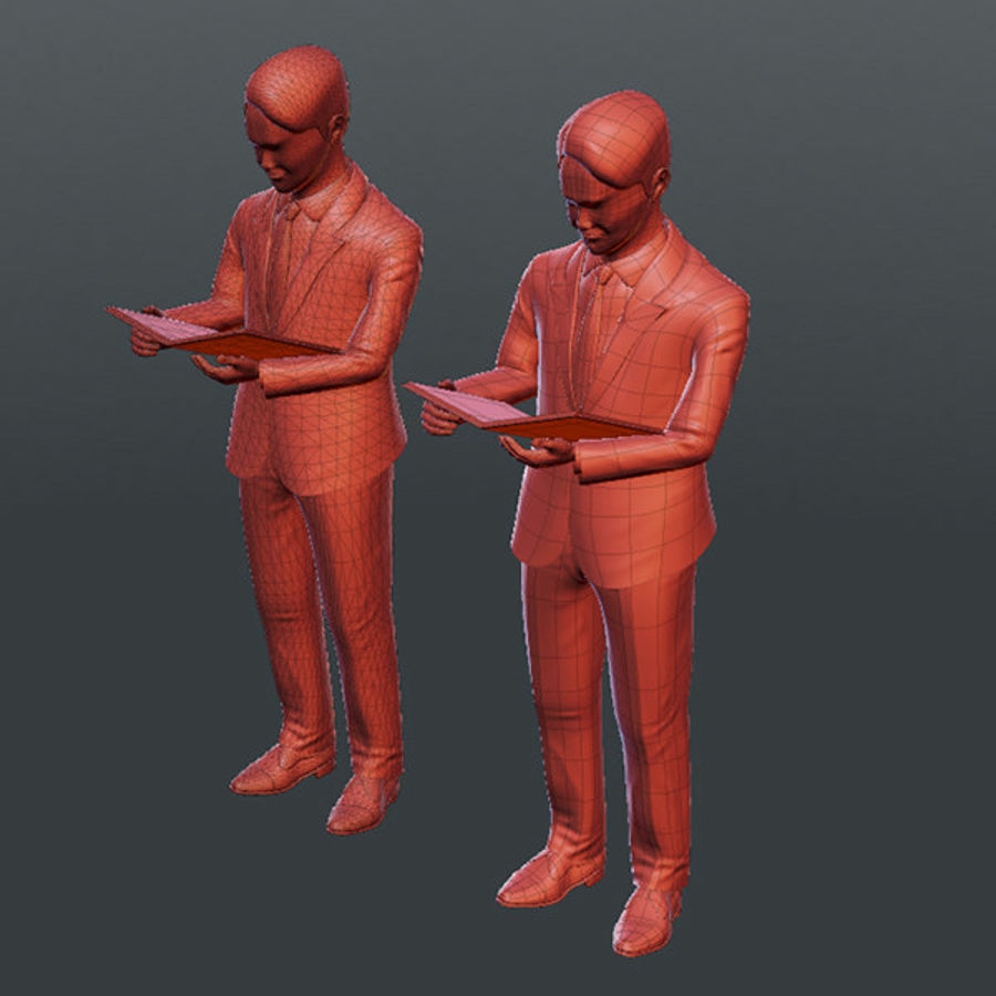 Gens d'affaires 02 (bureau d'information) royalty-free 3d model - Preview no. 7