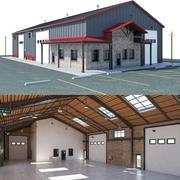 Склад Офисный интерьер и экстерьер 3d model