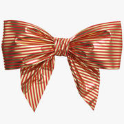 Low Poly Red Gold Bow 06 3d model