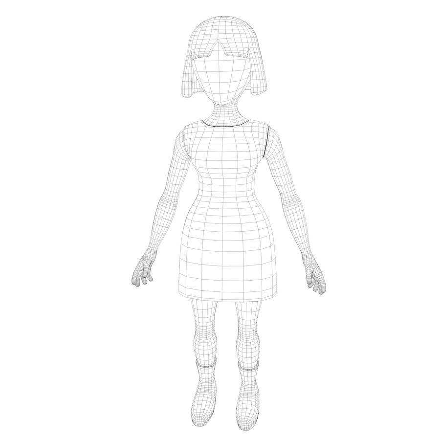 Girl Cartoon Character royalty-free 3d model - Preview no. 10