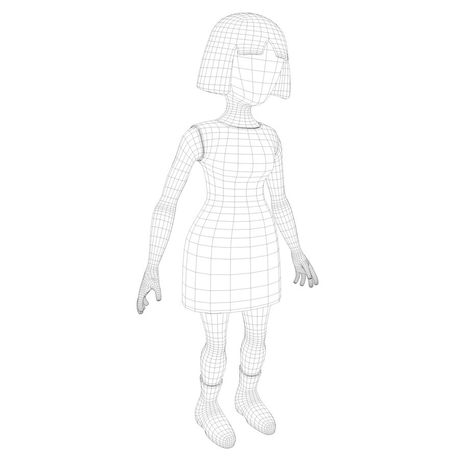 Girl Cartoon Character royalty-free 3d model - Preview no. 9