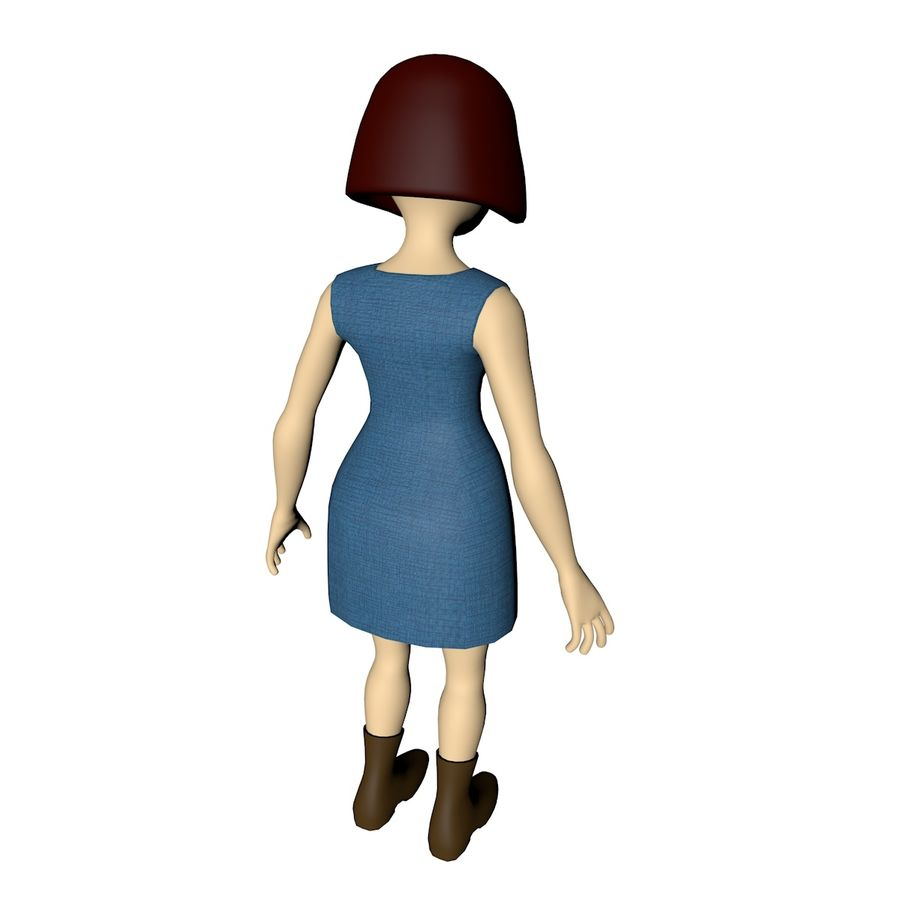 Girl Cartoon Character royalty-free 3d model - Preview no. 4