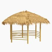 Bambu barınağı plaj gölgelik 6 köşeli 3d model