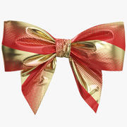 Low Poly Red Gold Bow 05 3d model