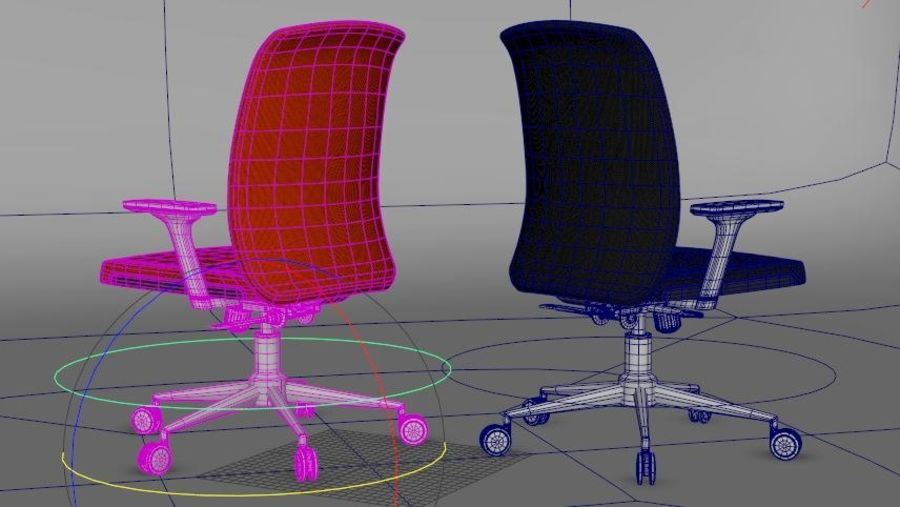 rigged base office boss chair royalty-free 3d model - Preview no. 4