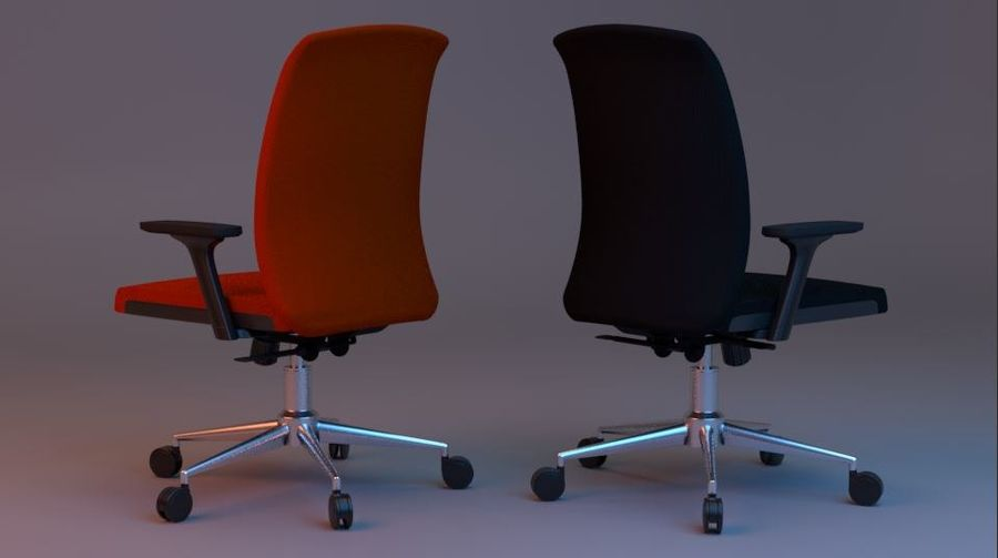 rigged base office boss chair royalty-free 3d model - Preview no. 3