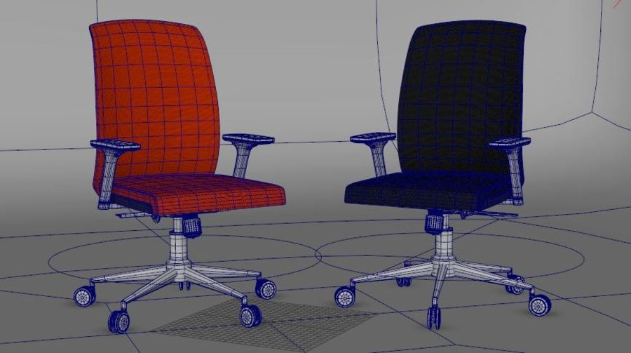 rigged base office boss chair royalty-free 3d model - Preview no. 2