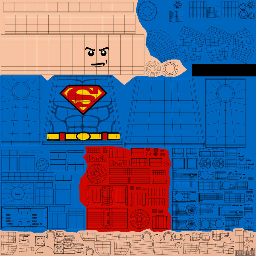 LEGO Super Man royalty-free 3d model - Preview no. 18