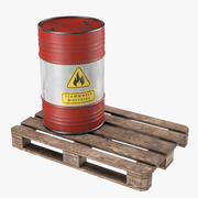 Steel Barrel with Pallet 02 3d model