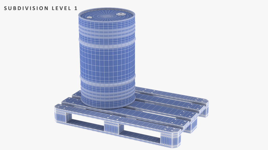 Steel Barrel with Pallet 02 royalty-free 3d model - Preview no. 11