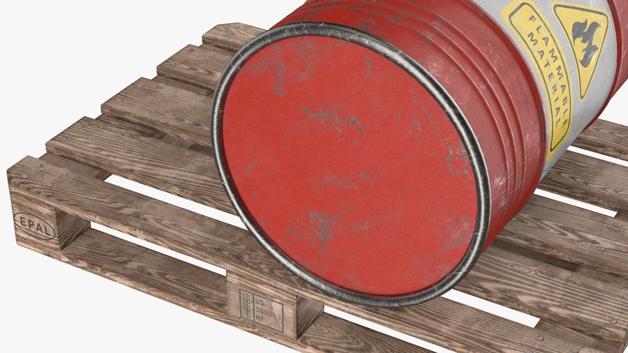 Steel Barrel with Pallet 02 royalty-free 3d model - Preview no. 5