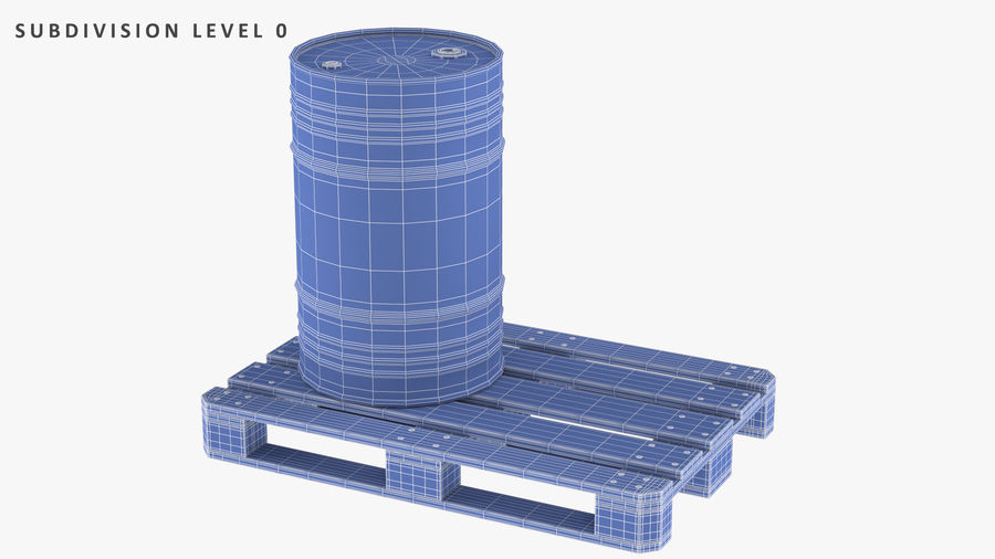 Steel Barrel with Pallet 02 royalty-free 3d model - Preview no. 10