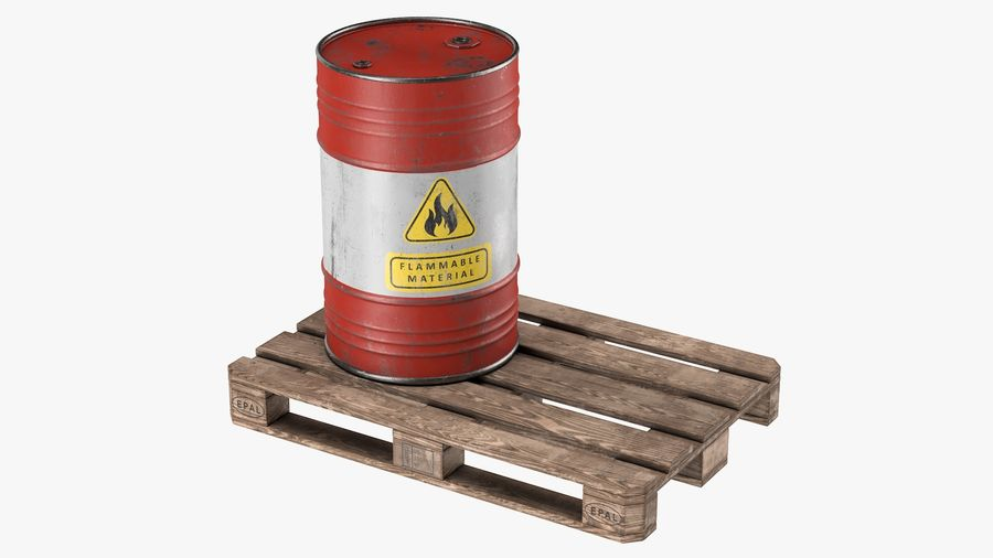 Steel Barrel with Pallet 02 royalty-free 3d model - Preview no. 2