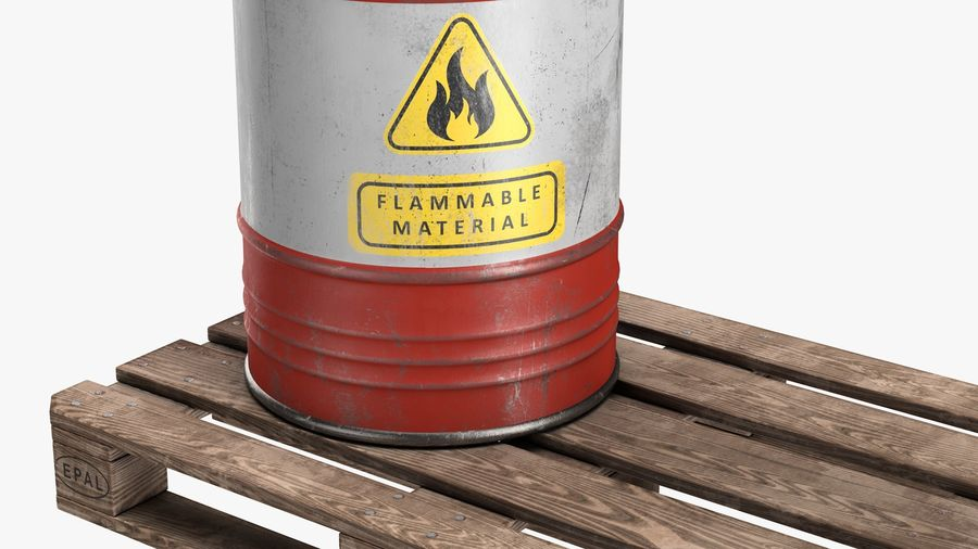 Steel Barrel with Pallet 02 royalty-free 3d model - Preview no. 4