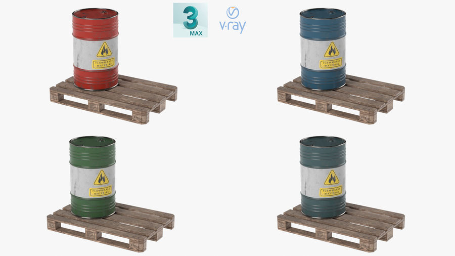 Steel Barrel with Pallet 02 royalty-free 3d model - Preview no. 16