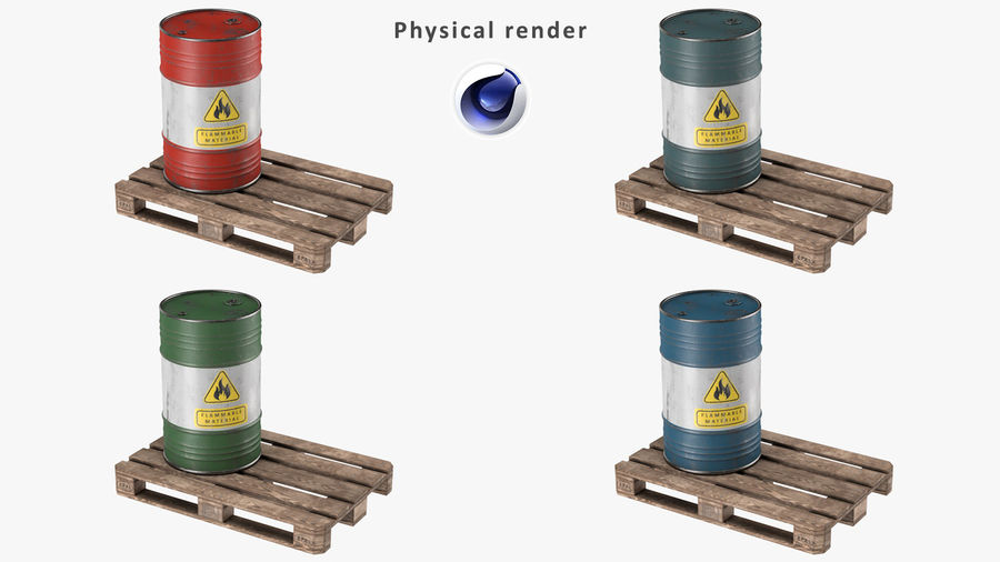 Steel Barrel with Pallet 02 royalty-free 3d model - Preview no. 14