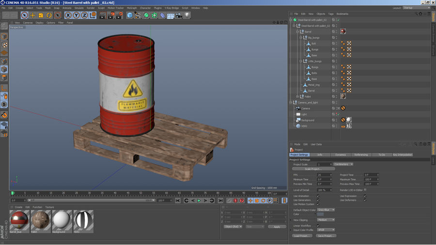 Steel Barrel with Pallet 02 royalty-free 3d model - Preview no. 15