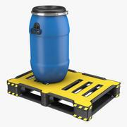 Barrel Plastic  with Pallet 3d model