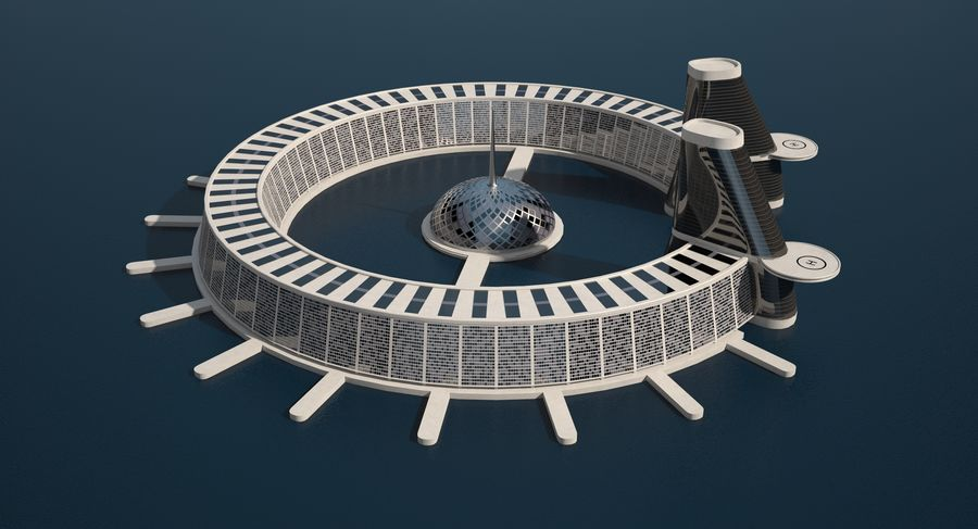 Sci-Fi Building royalty-free 3d model - Preview no. 6