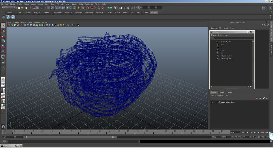 Spaghetti Nest royalty-free 3d model - Preview no. 10