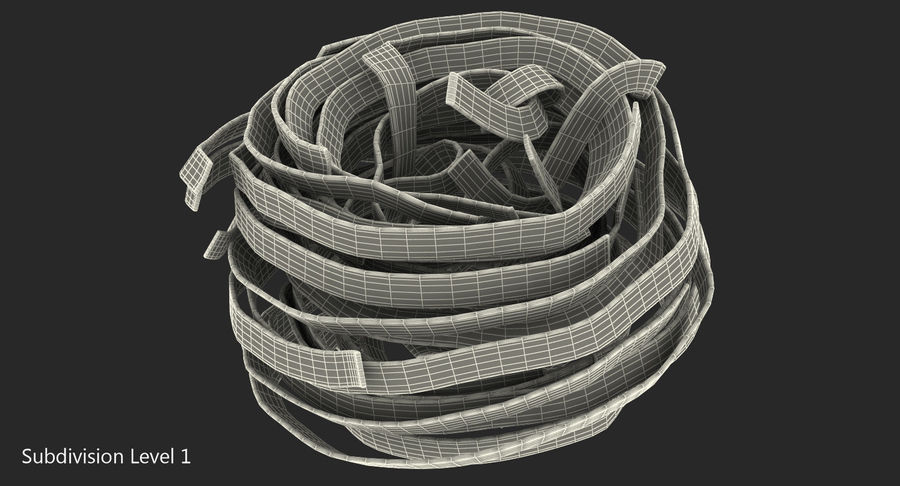 Uncooked Pasta Nest 3D Model royalty-free 3d model - Preview no. 7