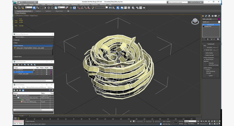 Uncooked Pasta Nest 3D Model royalty-free 3d model - Preview no. 12