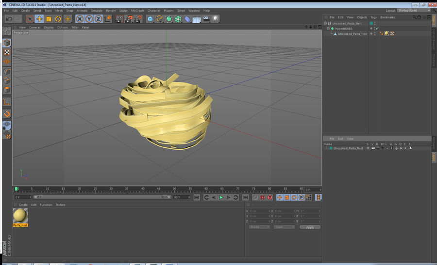 Uncooked Pasta Nest 3D Model royalty-free 3d model - Preview no. 11