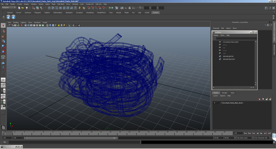 Uncooked Pasta Nest 3D Model royalty-free 3d model - Preview no. 10