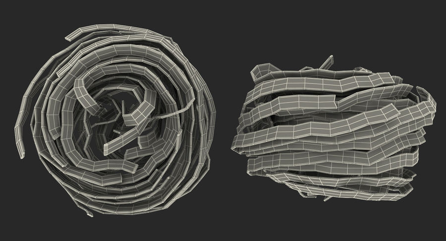 Uncooked Pasta Nest 3D Model royalty-free 3d model - Preview no. 14