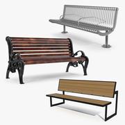 Коллекция 3D моделей уличных скамей 3d model