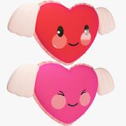 Фаршированные сердца с крыльями 3d model
