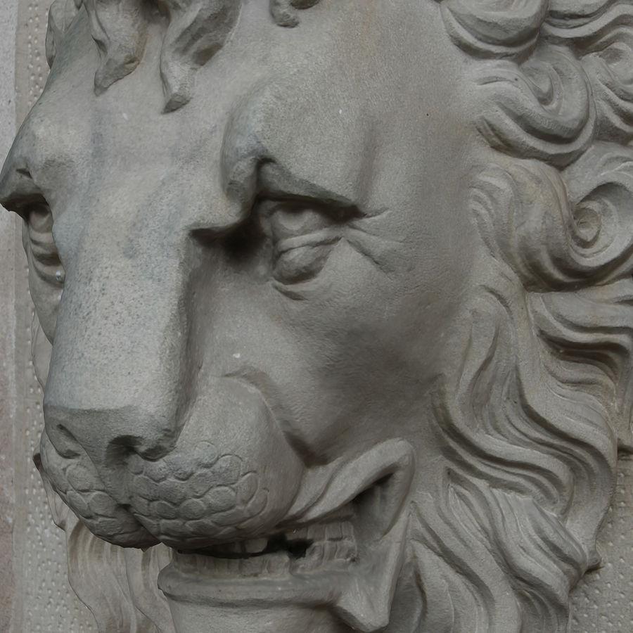 Lion head sculpture royalty-free 3d model - Preview no. 4